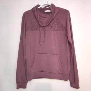 Light Plum Pink Floral Lace Cutout Semi Hoodie